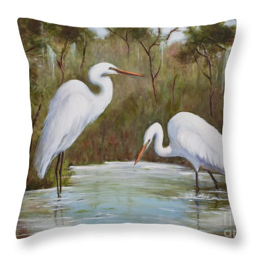 Egrets Throw Pillow featuring the painting Hunting For Prey by Glenda Cason
