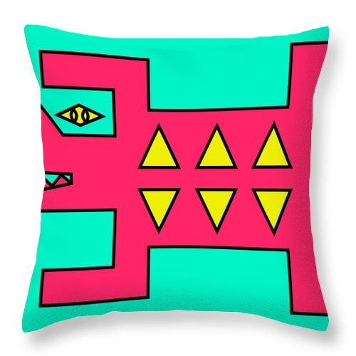 Pop-art Throw Pillow featuring the digital art Hunting by Peter Dovren