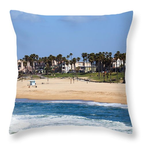 America Throw Pillow featuring the photograph Huntington Beach California by Paul Velgos