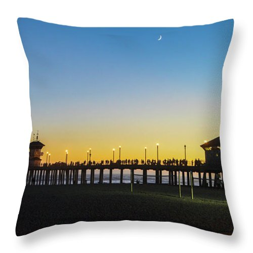 2014 Throw Pillow featuring the photograph Huntington Beach High Surf At Night by Tommy Anderson