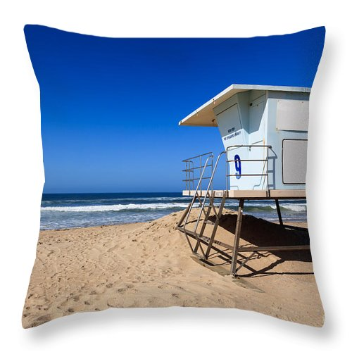 America Throw Pillow featuring the photograph Huntington Beach Lifeguard Tower Photo by Paul Velgos