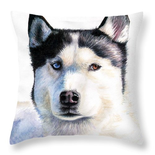 Dog Throw Pillow featuring the painting Husky Blue by Nicole Zeug