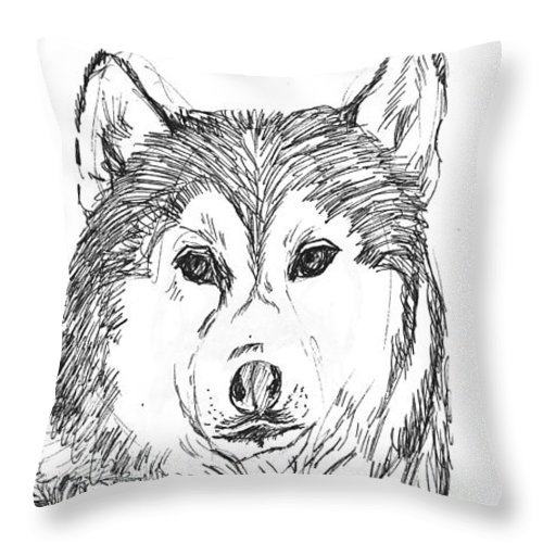 Husky Throw Pillow featuring the drawing Husky by Charme Curtin