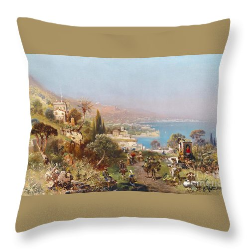Robert Alott (1850-1910) Hustle And Bustle In A Southern Harbour City Throw Pillow featuring the painting Hustle And Bustle In A Southern Harbour City by MotionAge Designs