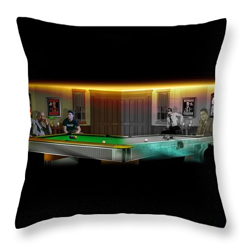 Pool Throw Pillow featuring the digital art Hustlers Of Color by Draw Shots
