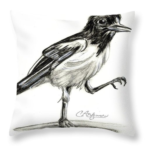 Drawings Throw Pillow featuring the drawing Hut Two Three Four by Carol Allen Anfinsen