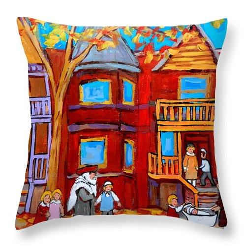 Hutchison Street Sabbath In Montreal Throw Pillow featuring the painting Hutchison Street Sabbath In Montreal by Carole Spandau