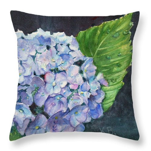 Hydrangea Throw Pillow featuring the painting Hydrangea And Water Droplet by Katherine Berlin