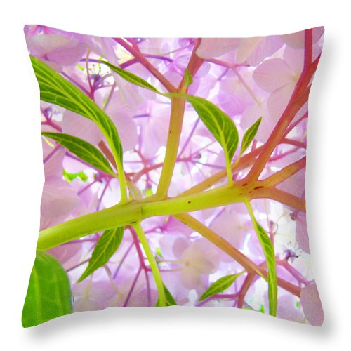 Bright Throw Pillow featuring the photograph Hydrangea Flower Inside Floral Art Prints Baslee Troutman by Baslee Troutman