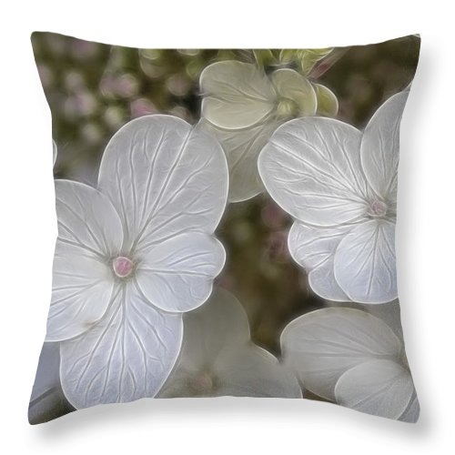 Flowers Throw Pillow featuring the mixed media Hydrangea Fractalius by Deborah Benoit