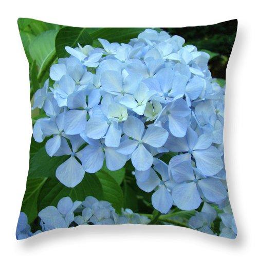 Landscape Throw Pillow featuring the photograph Hydrangea Garden Art Prints Hydrangeas Flower Garden Baslee Troutman by Baslee Troutman