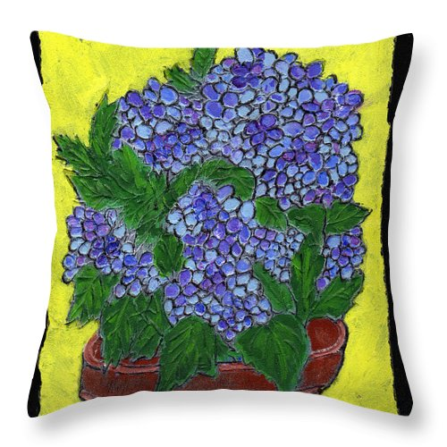 Flower Throw Pillow featuring the painting Hydrangea In A Pot by Wayne Potrafka