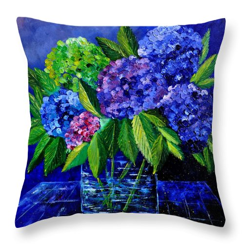 Flowers Throw Pillow featuring the painting Hydrangeas 88 by Pol Ledent