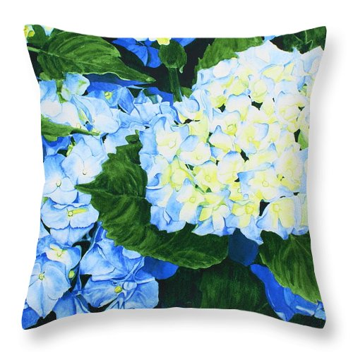 Hydrangeas Throw Pillow featuring the painting Hydrangeas by Frank Hamilton