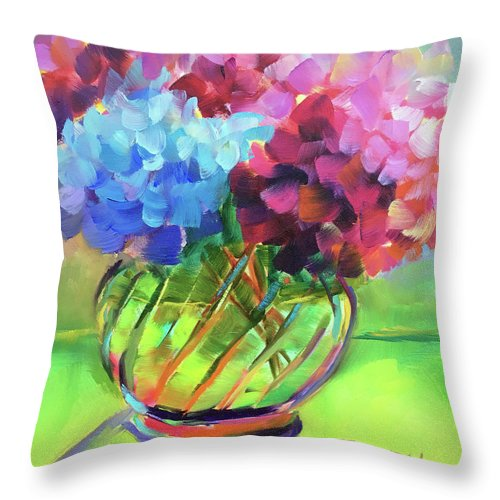 Still Life Throw Pillow featuring the painting Hydrangeas In A Glass Vase by Linda Tilden