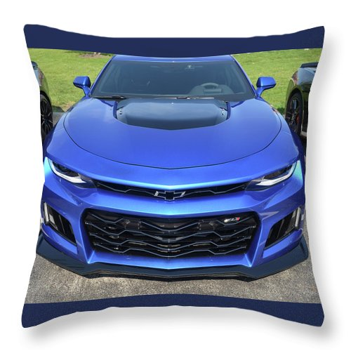 Sportscar Throw Pillow featuring the photograph Hyper Blue Metallic 2017 Chevrolet Camaro Zl1 by Roger Fink