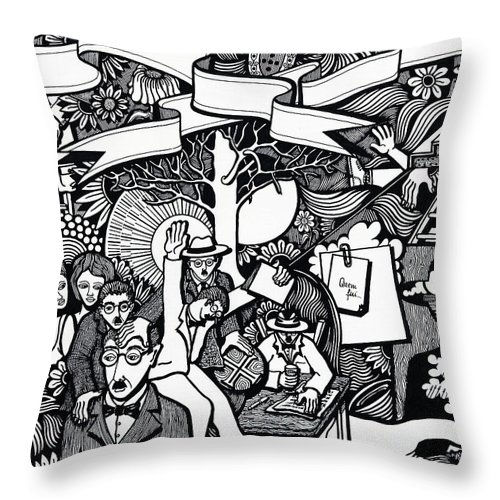 Drawing Throw Pillow featuring the drawing I Also Had Who Also Smiled At Me by Jose Alberto Gomes Pereira