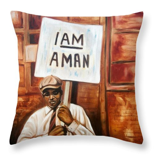 Emery Franklin Throw Pillow featuring the painting I Am A Man by Emery Franklin