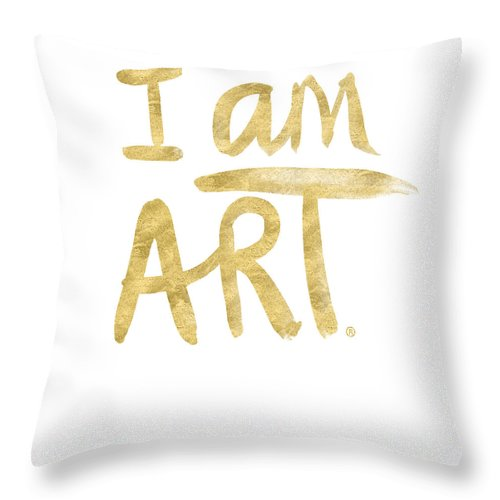I Am Art Throw Pillow featuring the painting I AM ART GOLD - Art by Linda Woods by Linda Woods