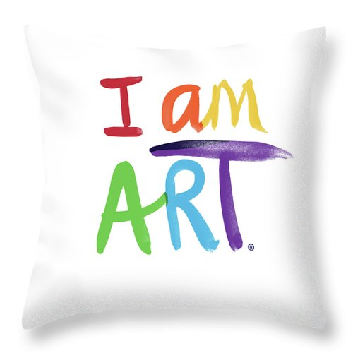 Rainbow Throw Pillow featuring the painting I AM ART Rainbow Script- Art by Linda Woods by Linda Woods