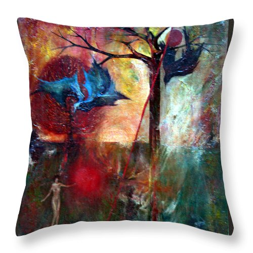 Colour Throw Pillow featuring the painting I Am Near You by Wojtek Kowalski