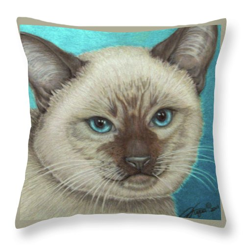 Fuqua - Artwork Throw Pillow featuring the drawing I Am Siamese If You Please by Beverly Fuqua