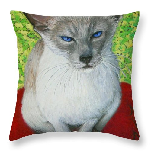Siamese Throw Pillow featuring the painting I Am Siamese if you Please by Minaz Jantz