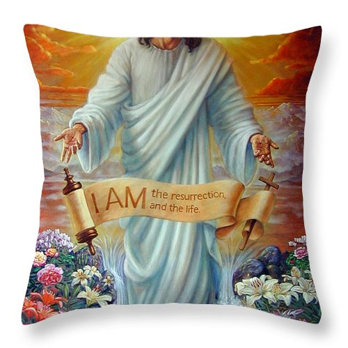 Jesus Christ Throw Pillow featuring the painting I AM the Resurrection by John Lautermilch