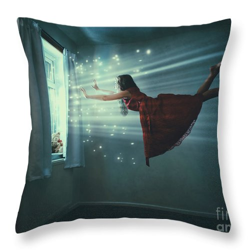 Levitation Throw Pillow featuring the photograph I Believe I Can Fly by Amanda Elwell
