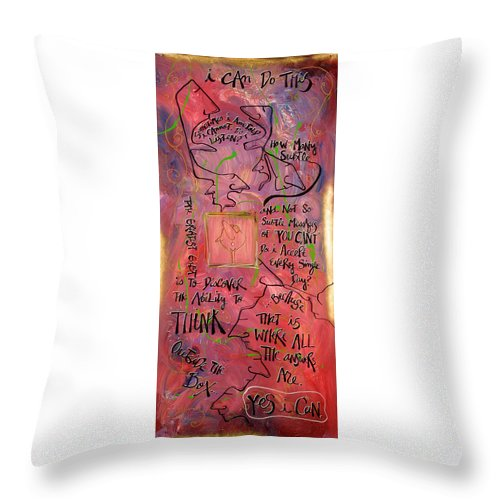 Art Throw Pillow featuring the painting I Can by Dar Freeland