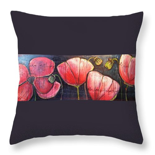 Poppies Throw Pillow featuring the painting I Choose To Live A Life Of Purpose Poppies by Laurie Maves ART