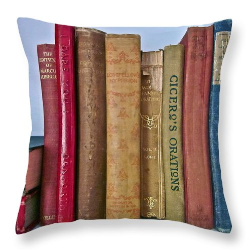 Photograph Of Books Throw Pillow featuring the photograph I Dare You Et Al. by Gwyn Newcombe