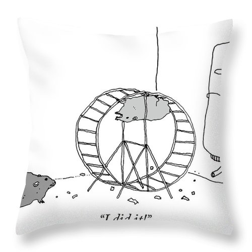 """i Did It!"" Throw Pillow featuring the drawing I Did It by Liana Finck"