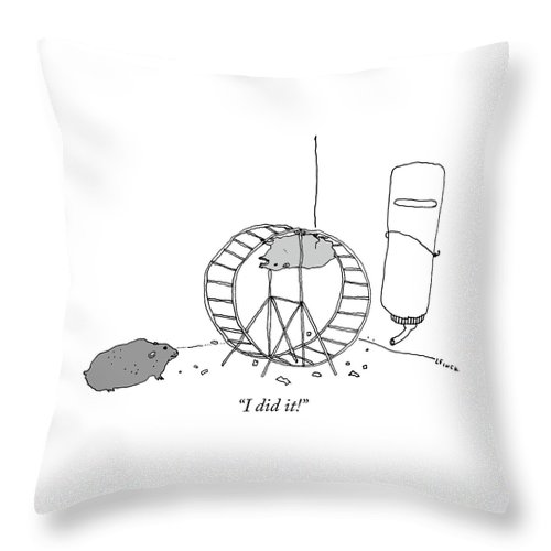 """""""i Did It!"""" Throw Pillow featuring the drawing I Did It by Liana Finck"""