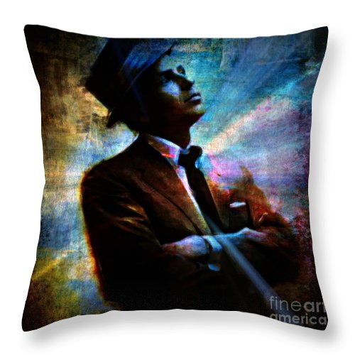 Sinatra Throw Pillow featuring the painting I Did It My Way by Wbk