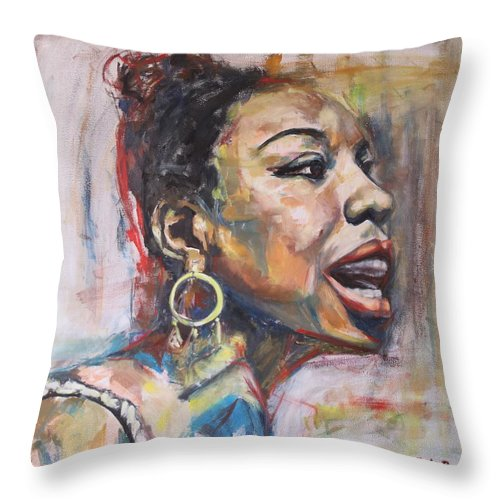 Portrait Throw Pillow featuring the painting I Got Life by Christel Roelandt