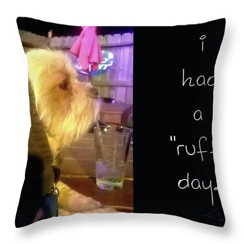 Dog Throw Pillow featuring the photograph I Had A Ruff Day Printable by Domenique Martinez