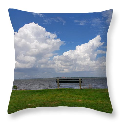 Bench Photos Throw Pillow featuring the photograph I Have Been Sitting There Many Times by Susanne Van Hulst