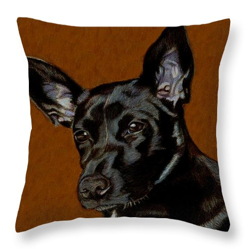 Dog Throw Pillow featuring the painting I Hear Ya - Dog Painting by Patricia Barmatz