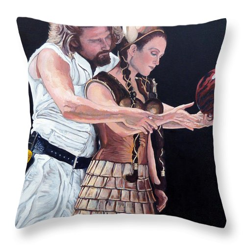 The Dude Throw Pillow featuring the painting I Just Dropped In by Tom Roderick