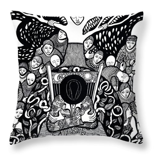 Drawing Throw Pillow featuring the drawing I Know Not What Nature Is I Sing It by Jose Alberto Gomes Pereira