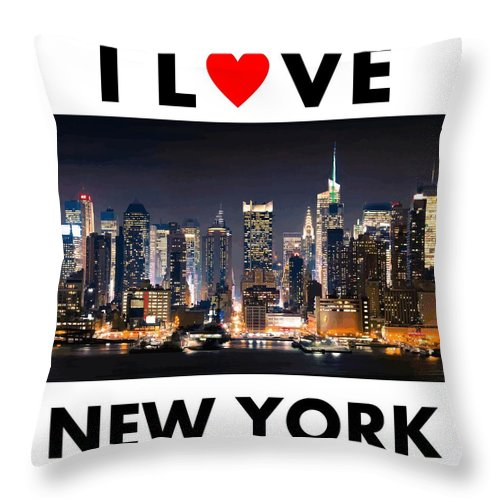 New York Throw Pillow featuring the photograph I Love New York by Ceppi Habibi Sholeh