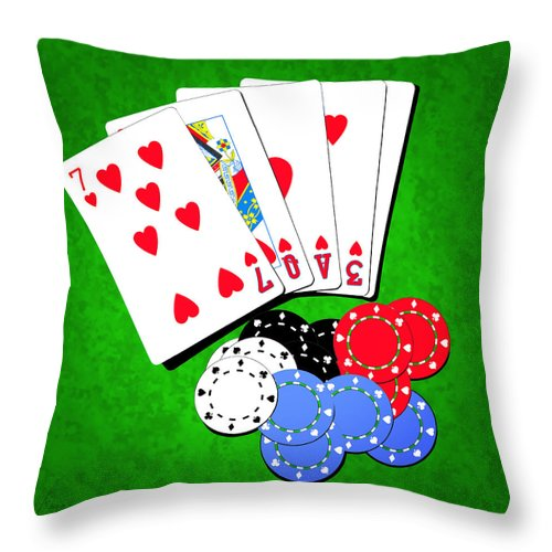 Addiction Throw Pillow featuring the digital art I Love Poker by Francesa Miller