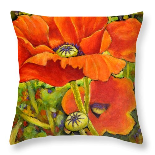 Poppies Throw Pillow featuring the painting I Love Poppies by Eileen Fong