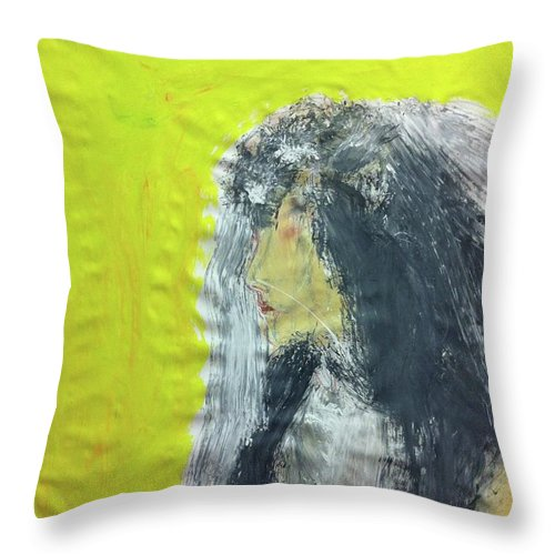Large Painting Throw Pillow featuring the painting I Love That Yellow by Tanya Johnston