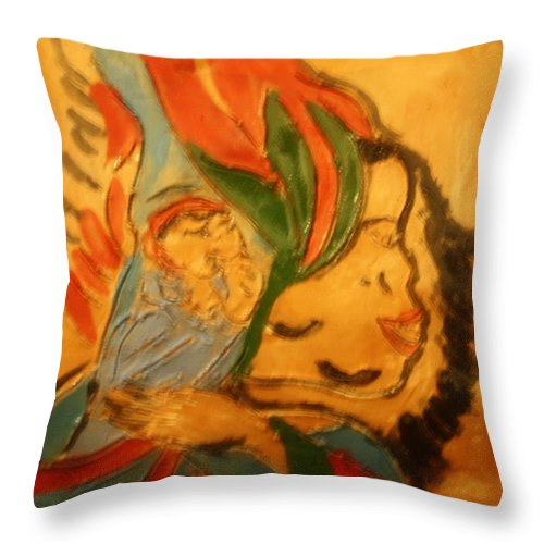 Jesus Throw Pillow featuring the ceramic art I Love You - Tile by Gloria Ssali