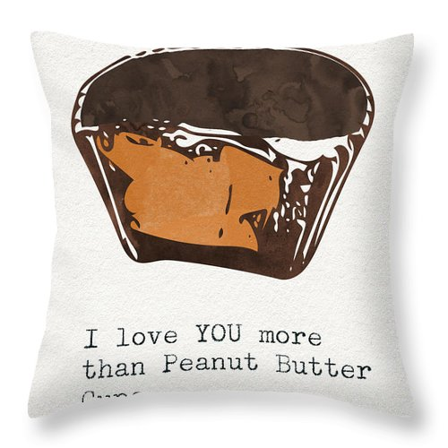 Chocolate Throw Pillow featuring the mixed media I Love You More Than Peanut Butter Cups 2- Art By Linda Woods by Linda Woods