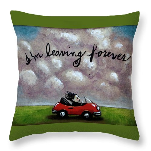 Car Throw Pillow featuring the painting Im Leaving Forever by Pauline Lim