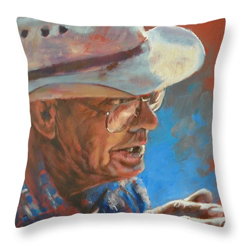 Story Telling Throw Pillow featuring the painting I Remember When by Mia DeLode