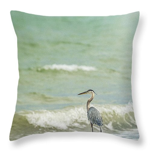 Heron Throw Pillow featuring the photograph I Saw The Heron Standing by Leena Hannonen